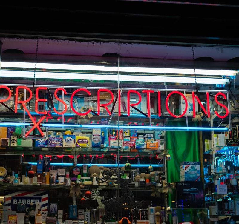 Prescriptions Sign On A Drug Store Front